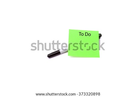 Pen and green memo paper - stock photo
