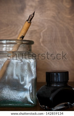 pen and ink - nostalgic still life - stock photo