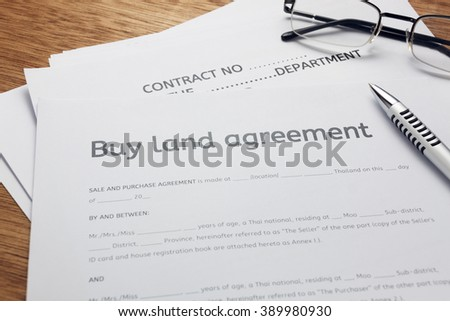 Pen Land Contract Form On Wood Stock Photo 389980945 - Shutterstock