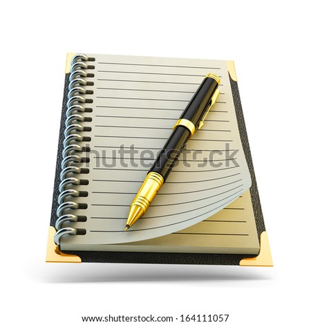 Pen and notebook isolated on white