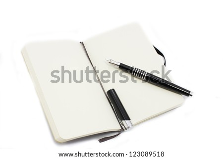 pen and notebook with clear pages isolated on white