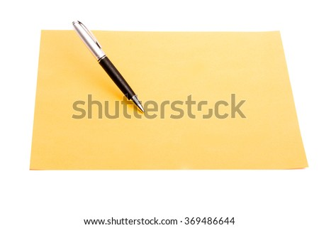 Pen and plain color paper on an isolated background
