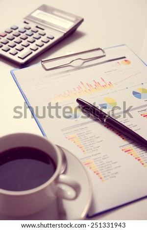 Pen and report paper, business conceptual
