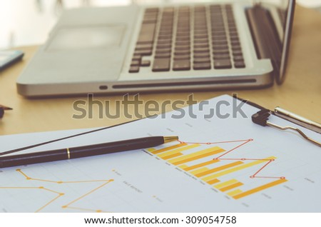 Pen and report paper, business conceptual - stock photo
