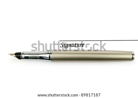 Pen and signature isolated on white