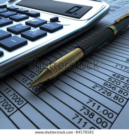 Pen, calculator and finance report - stock photo