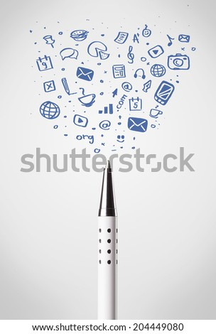 Pen close-up with sketchy social media icons - stock photo