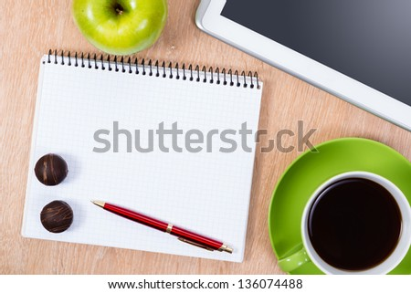 pen, coffee, notepad and tablet, workplace businessman - stock photo