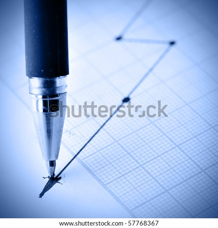 Pen drawing a crisis graph. Shallow DOF!