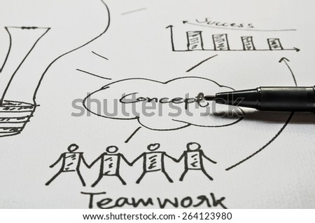 pen drawing graphics on white paper - stock photo