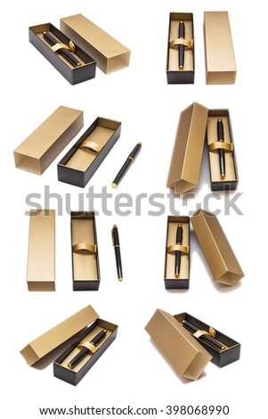 Pen in gift packing in different positions isolated on white background. Stationery product. - stock photo