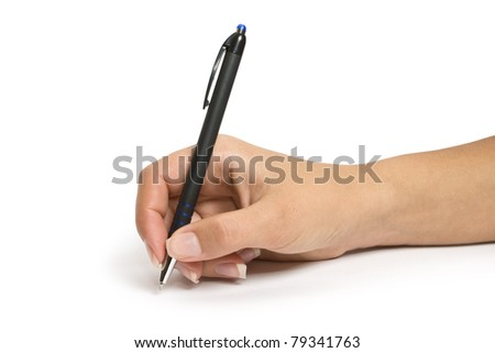 Pen in hand Isolated on white background