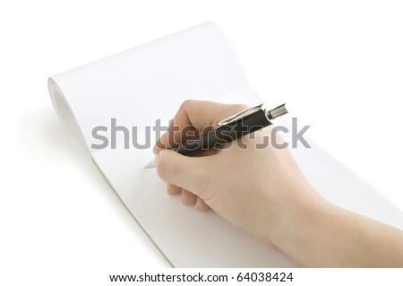 pen in hand writing on the notebook - stock photo