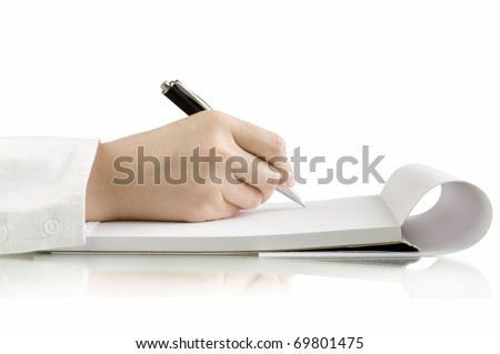 pen in hand writing on the notebook and reflection
