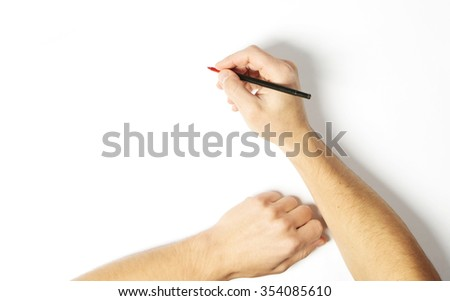 Pen in man hand on white background - stock photo