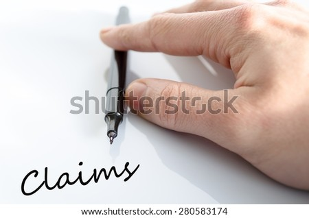 Pen in the hand isolated over white background Claims Concept - stock photo