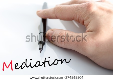 Pen in the hand isolated over white background mediation concept - stock photo