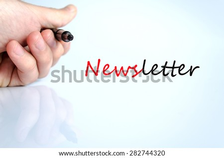 Pen in the hand isolated over white background Newsletter concept - stock photo