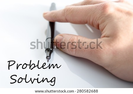 Pen in the hand isolated over white background Problem Solving Concept - stock photo