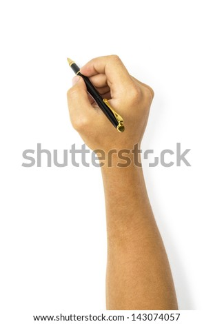 Pen in the man's hand isolated on white background