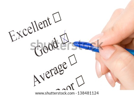 Pen is checking of the world Excellent, good in a survey - stock photo