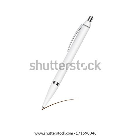 Pen isolated on white. Raster copy - stock photo