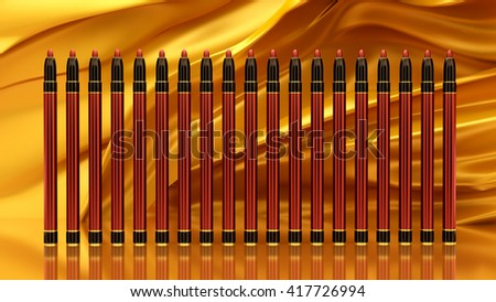 Pen lip on the background of gold fabric. Bottle, style, makeup, lips, beauty, make-up, facials. Cosmetics. 3D rendering - stock photo