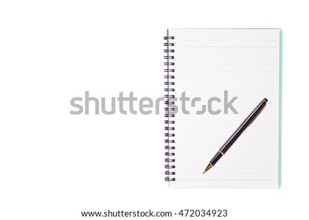 Pen notebook isolated white backgruond