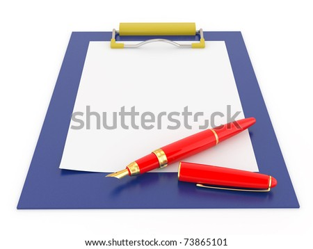 Pen on clipboard empty sheet paper stock illustration 73865101 shutterstock - Presse papier open office ...
