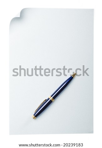 pen on empty page with curl - stock photo