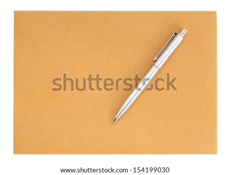 pen on the envelope on white background (with clipping path) - stock photo