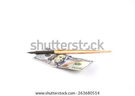 Pen on the new 100 us dollars - stock photo