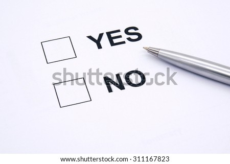 pen over document, select Yes or No.