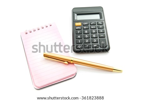 pen, pink notepad and calculator on white background