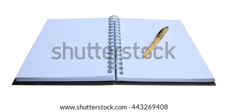 Pen put on notebook open blank page isolated on white - stock photo