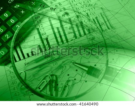 Pen, rulers, magnifier and calculator against the chart - collage (green).