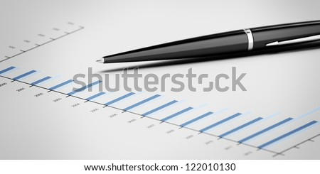Pen showing a diagram isolated on a white background - stock photo