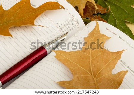 Pen sitting on the notebook with colorful autumn leaves - stock photo