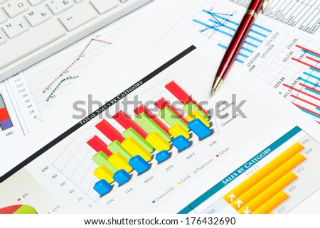 pen, successful growth charts and keyboard. business still life - stock photo