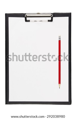 pen with clipboard on white background