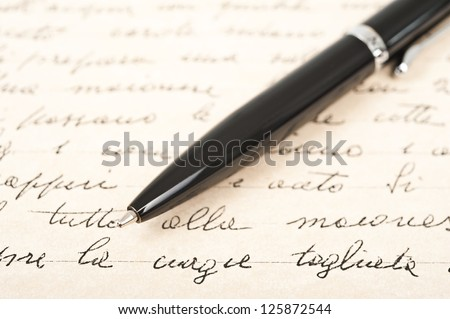 pen with hand written letter - stock photo