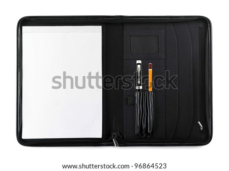 Pen with pencil in notebook - stock photo