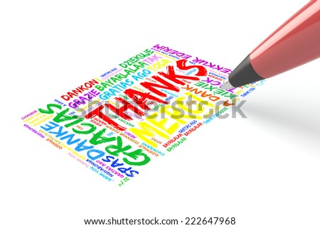 Pen writing thank you in many languages in a greeeting card - stock photo