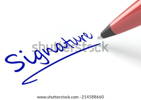 Pen writing the word signature on a white piece of paper