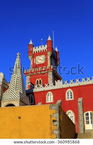 Pena castle red clock tower in Sintra, Portugal