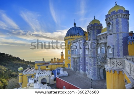 Pena castle yellow towers and blue mosaic towers in Sintra, Portugal