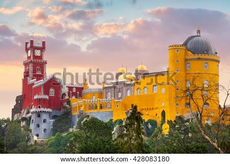 Pena National Palace and sunset sky, famous landmark, Sintra, Lisbon, Portugal, Europe - stock photo