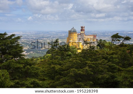 Pena National Palace in Sintra, Portugal, a UNESCO classified world heritage site and one of the seven architectural wonders of Portugal.