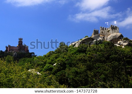 Pena National Palace seen from The Castle of the Moors - stock photo