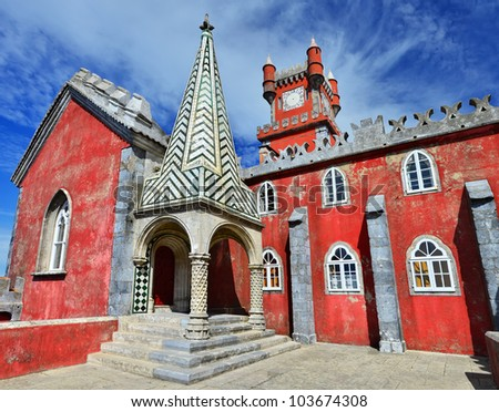 Pena Palace is the most complete and notable example of Portuguese architecture in the Romantic period. It was built in 1839 on the rocky peaks of the Serra de Sintra, Portugal - stock photo